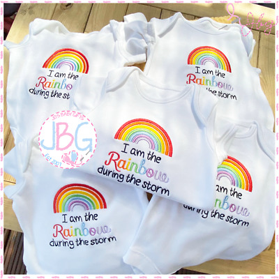 I Am The Rainbow During The Storm - Embroidered Baby Vest - Lockdown Baby Gift • 7.99£