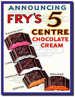 £4.95 • Buy Frys 5 Centre Chocolate Vintage/Retro Metal Wall Sign Advert/Poster