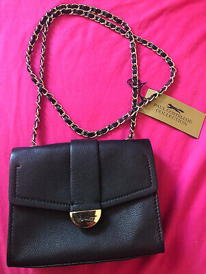 PAUL COSTELLOE The Tutu Small Crossbody Black Real Leather Chain Bag • 29.99£