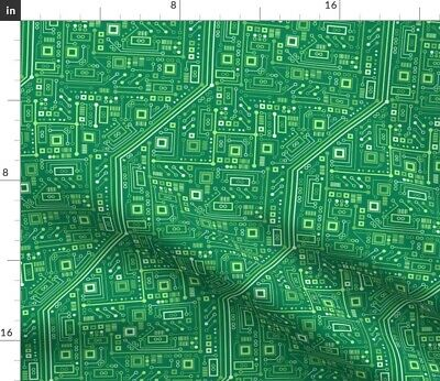 $20.50 • Buy Robot Circuits Computer Geek Chic Green Nerd Fabric Printed By Spoonflower BTY