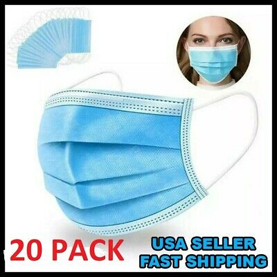$14.89 • Buy 20 PCS Face Mask Medical Surgical Dental Disposable 3-Ply Earloop Mouth Cover