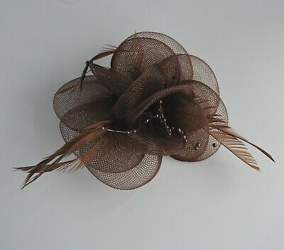 Net, Pearls & Feather Flower Small Fascinator Hair Clip/corsage. Wedding/races • 12.50£