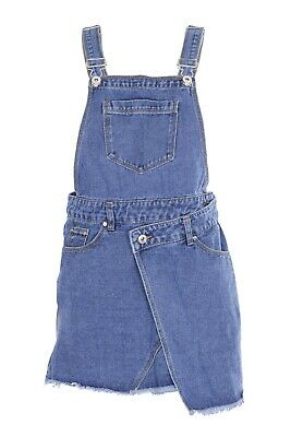 Kids Girls Dungaree Shorts Denim Jeans Overall Jumpsuit 7 To 13 Years • 9.99£