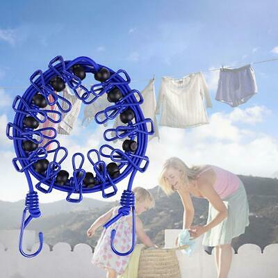 Elasticity Clothesline Rope With Windproof 12 Clips Retractable Camping • 6.11£