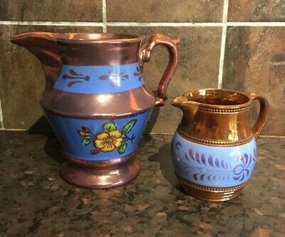 Victorian Copper Lustre Jugs Blue Band Flowers • 12£