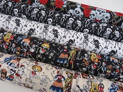 £8.95 • Buy Day Of The Dead Skeletons Halloween Mexican 100% Cotton Fabric 150cm Wide SKULLS