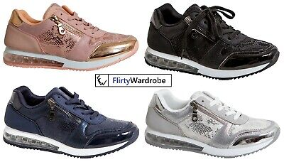 Womens Trainers Shoes Gym Running Shock Air Absorbing Sole Sports Snake Sequin • 17.09£