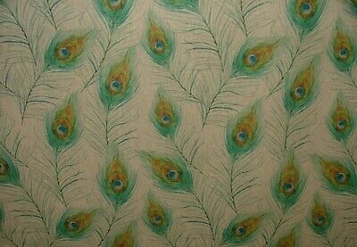 £11.99 • Buy LINEN Peacock Feathers Digital Print Cotton Look Fabric Curtaining Upholstery