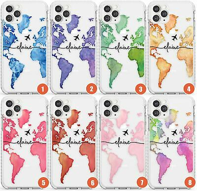 Custom Watercolour World Map Design Impact Phone Case For IPhone | Wanderlust Tr • 9.95£