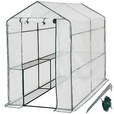 Greenhouse With Shelf PVC Cover Growhouse Outdoor Tent House Plants 186x120x190 • 109.99£