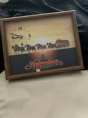$ CDN65.33 • Buy Vintage 1995 World Famous Budweiser Clydesdales Beer Picture Clock Anheuser-Bush