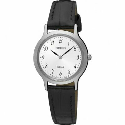 $ CDN140.99 • Buy Seiko White Dial Black Leather Ladies Watch SUP369P1