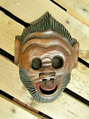 £18.99 • Buy Hand Carved Made Wooden Tribal Monkey Primate Ethnic Wall Art Hang Plaque Mask