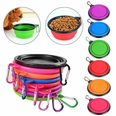 Pet Dog Bowl Water Feeding Travel Collapsible Portable Silicone Dish Camping • 3.45£