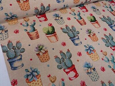 Cactus Plants  'Tapestry  Designer Fabric Upholstery Curtains Cushions Throws • 10.99£