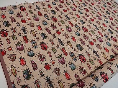 Bugs Ladybirds Beetles 'Tapestry  Designer Fabric Upholstery Curtains Cushions  • 12.99£