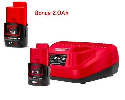 AU139 • Buy Genuine Milwaukee 12V Charger C12C + 2.0Ah M12B2 Battery Bonus 2.0Ah Battery