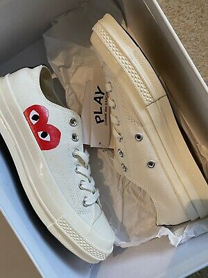 Converse X CDG Play Comme Des Garçons Heart Low Top Trainers 5.5 38 1970'S Cream • 119£