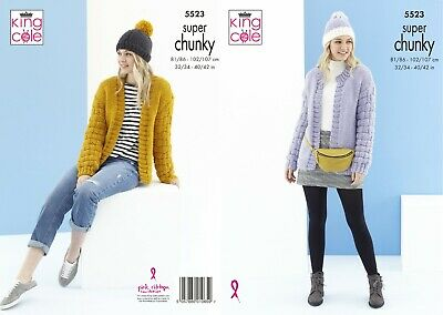 Ladies Cardigan & Hats In Super Chunky Yarn Knitting Pattern  King Cole 5523 • 2.95£