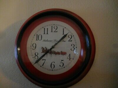 $ CDN102.43 • Buy Anheuser Busch Clydesdale Horses Wall Clock Quartz 20 D X 3  RED