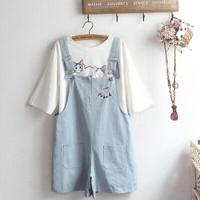 $ CDN56.95 • Buy Japanese Women Kawaii Student Shorts  Jumpsuit Embroidered Dungarees Casual New