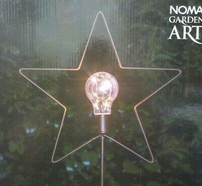 Noma Solar Metal Star Stake Light Lamp 5 Warm White Led Light Patio Garden New • 10.49£