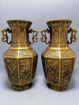 £147.59 • Buy Collect Chinese Bronze Crane Eagle Fish Chicken Octahedral Dragon Ear Pair Vase