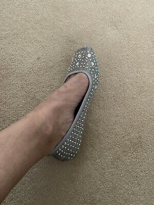 New With Box A Silver Diamond Encrusted Flat Shoes Size 38 • 20£