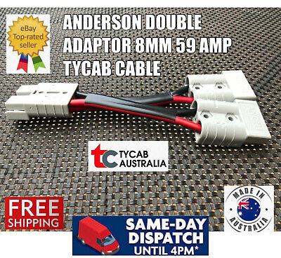AU18.99 • Buy 50 Amp Anderson Plug Connector Double Y Adaptor 8mm Automotive Tycab Cable Solar