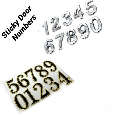 Self Adhesive Door Numbers Chrome Finish 2  Number Letter House Apartment UK  • 1.98£