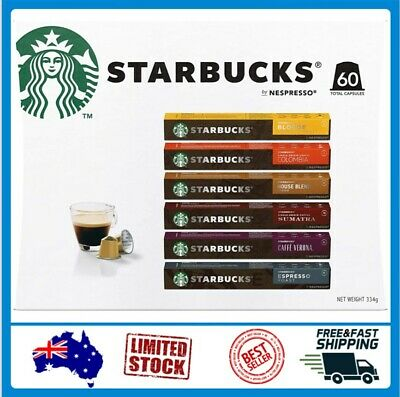 AU46.91 • Buy Starbucks By Nespresso Coffee Pods Variety Pack 60 Capsules (10 Of Each Flavor)