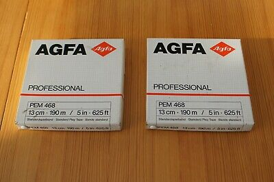 Two AGFA PEM468 Professional Reel To Reel Tapes For NAGRA 5-in Reel New Unused!! • 15£