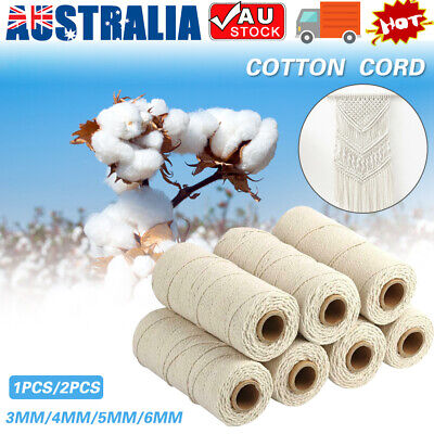 AU17.09 • Buy 3/4/5/6mm Macrame Rope Natural Beige Cotton Twisted Cord Artisan Hand Craft AU