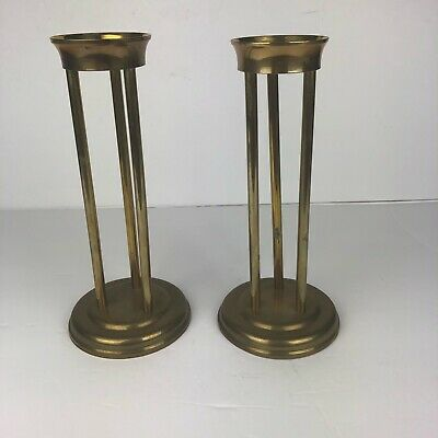 $33.15 • Buy 2 Brass Candle Vase Holder Set Vtg For Floating Glass Containers