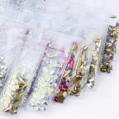 1788pcs 3D Nail Art Rhinestones Flatback Crystal Gems Mixed Size Glass Stones • 4.99£