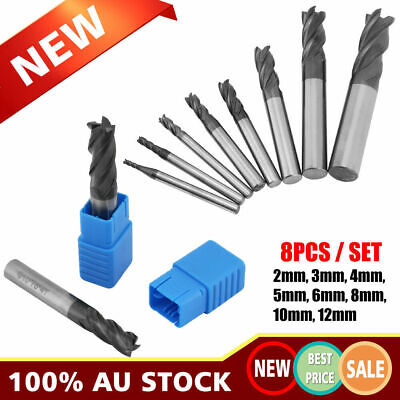 AU57.85 • Buy 8x 4 Flute Solid Carbide End Mill Kit 2-12mm CNC Slot Milling Drill Bit Cutter