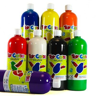 £6.99 • Buy Ready-Mix Washable Tempera Paint 8 Colours To Choose  1000 Ml  Children Painting