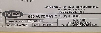 IVES 559 Automatic Flush Bolt, HB-559-52B Polished Chrome FREE SHIPPING • 26.95£