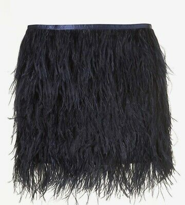 £79 • Buy Topshop Ostrich Feather Skirt Bnwt Vtg Fluttering Midnight Party Navy Blue 10