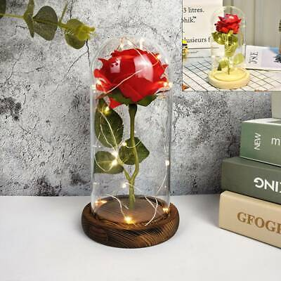 LED Light Up Enchanted Rose Night Light & Dome Pine Base Magic Gifts Home • 9.99£