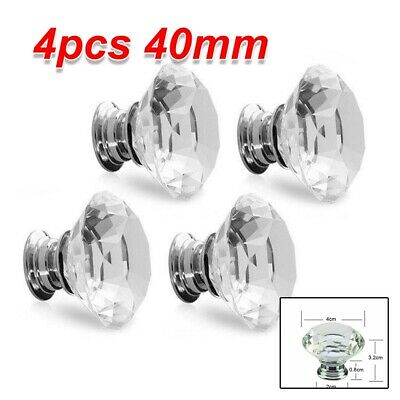 4Pcs Clear Crystal Glass Door Knobs Cupboard Drawer Cabinet Kitchen Handles UK • 2.99£