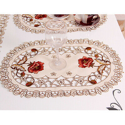 £6.29 • Buy Set Of 4 Oval Floral Placemats White Embroidered Lace Doilies Table Runner Mats
