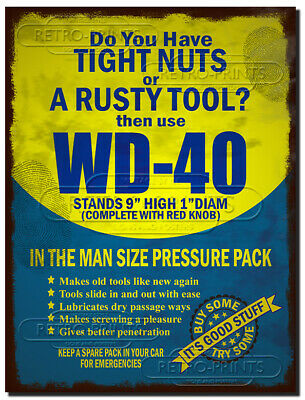 WD-40 Metal Sign Plaque WD40 Tight Nuts Rusty Tool Garage Workshop Man Cave Art • 4.95£