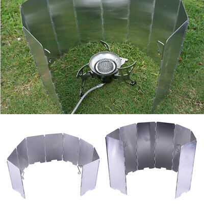 AU11.35 • Buy 8/9 Foldable Camping Cooking Picnic Gas Stove BBQ Burner Windshield Wind Screen