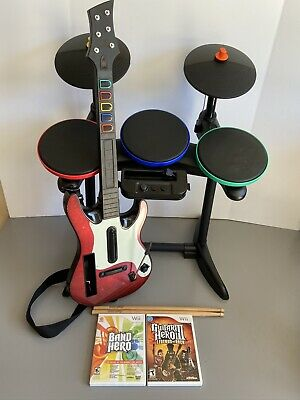 $ CDN262.26 • Buy Wii Rock Band Guitar Hero Band Hero Bundle Lot Drums Guitar Game Pedal Tested