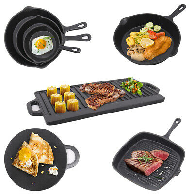 Cast Iron Non Stick Griddle Enamel Pan BBQ Reversible Grill Skillet Pizza Plate • 22.97£