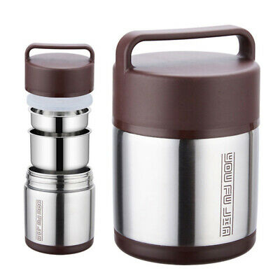 AU31.99 • Buy Vacuum Insulated Lunch Box Stainless Steel 2 Tier Jar Hot Thermos Food Container
