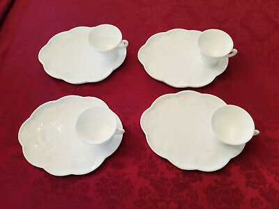 $14 • Buy Set Of 4 Vintage White Milk Glass Snack Plates And Cups Grape Pattern Farmhouse