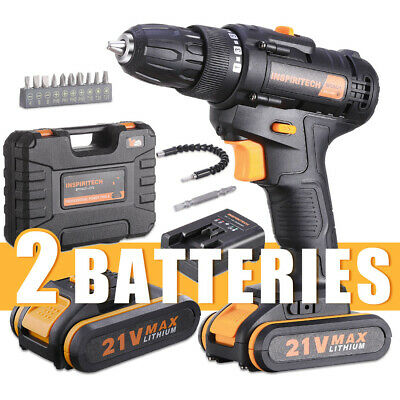 View Details 21 V Drill 2 Speed Electric Cordless Drill/Driver With Bits Set & 2 Batteries • 69.99$