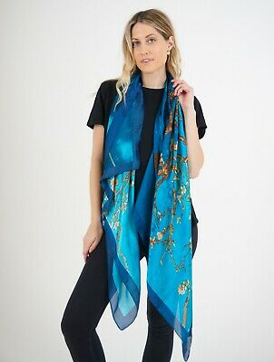 £15 • Buy 100% Silk Scarf In Turquoise Floral Print